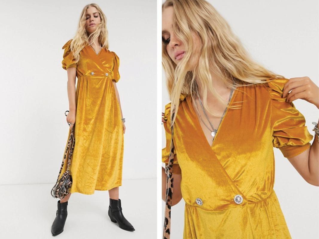 Vestido midi de terciopelo con mangas abullonadas y botones de strass de ASOS DESIGN