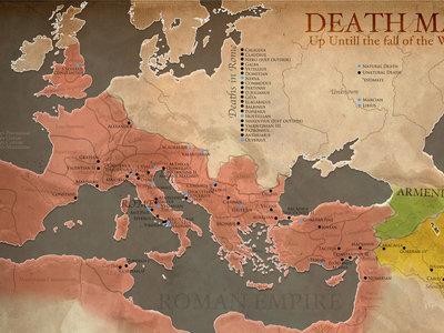 Muerte en Roma: el mapa que ilustra dónde nacieron y murieron todos los emperadores romanos