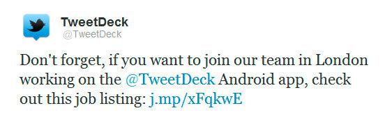 Tweet en la cuenta oficial de Twitter sobre TweetDeck para Android