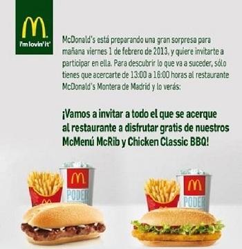 Pásate por McDonald's de la calle Montera en Madrid, mañana viernes 1 de febrero, ¡invitan a comer!