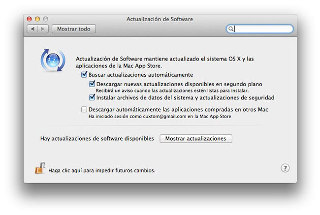 Actualización de Software OS X 10.8