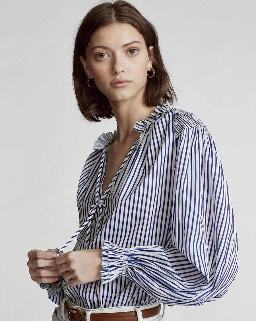 Blusa de mujer de rayas de manga larga