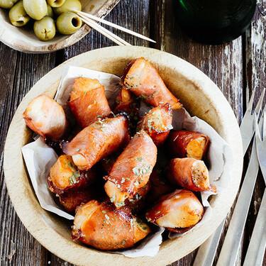 Bocados dulces de pollo y tocino. Receta de botana