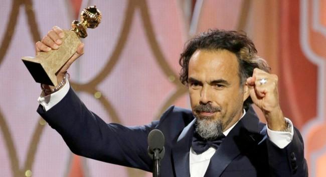 Iñárritu con el Globo de Oro al mejor director por The Revenant