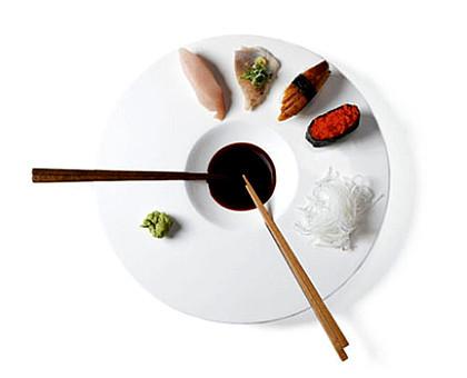 Platos de sushi de porcelana blanca