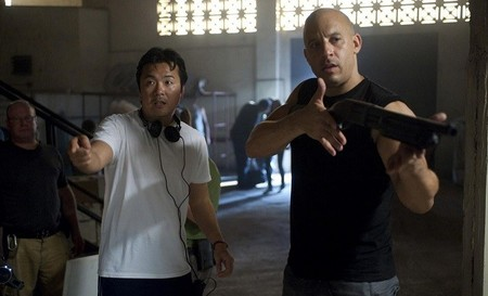 El director Justin Lin con Vin Diesel