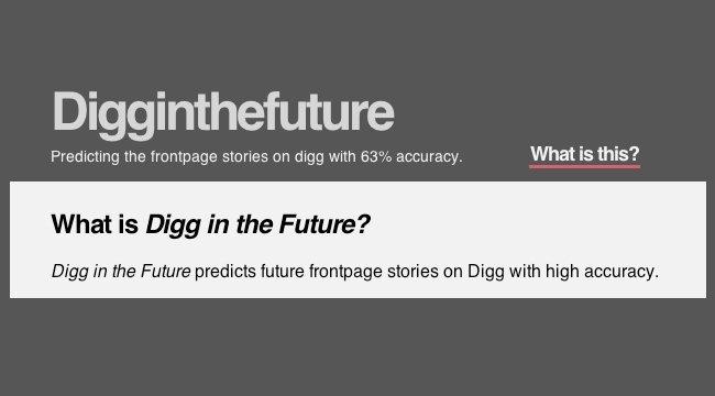 DiggInTheFuture predice historias portada Digg
