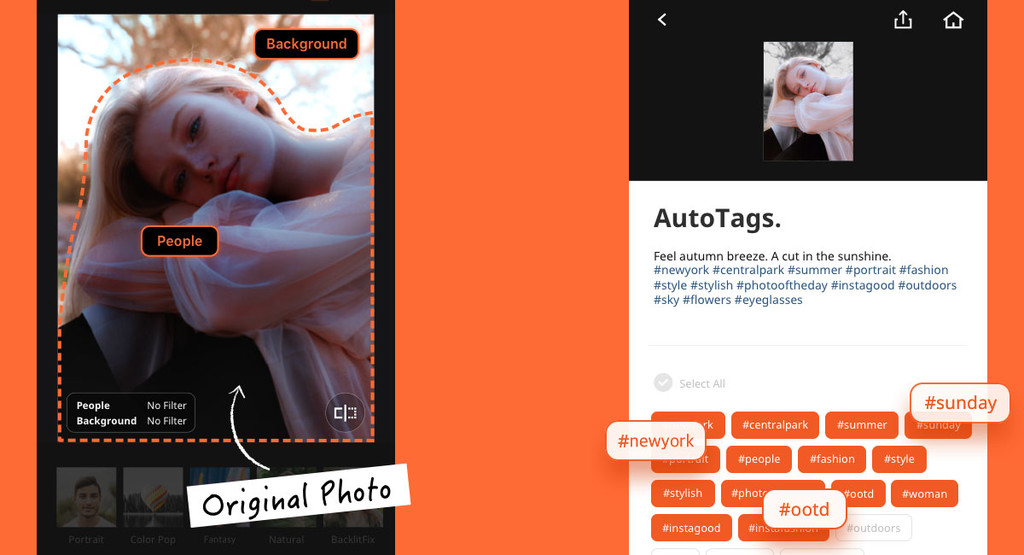 Aicut, an app to create photos with portrait mode and suggest hashtags related by IA