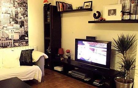 La zona de la televisión del salón de Gonzalo.