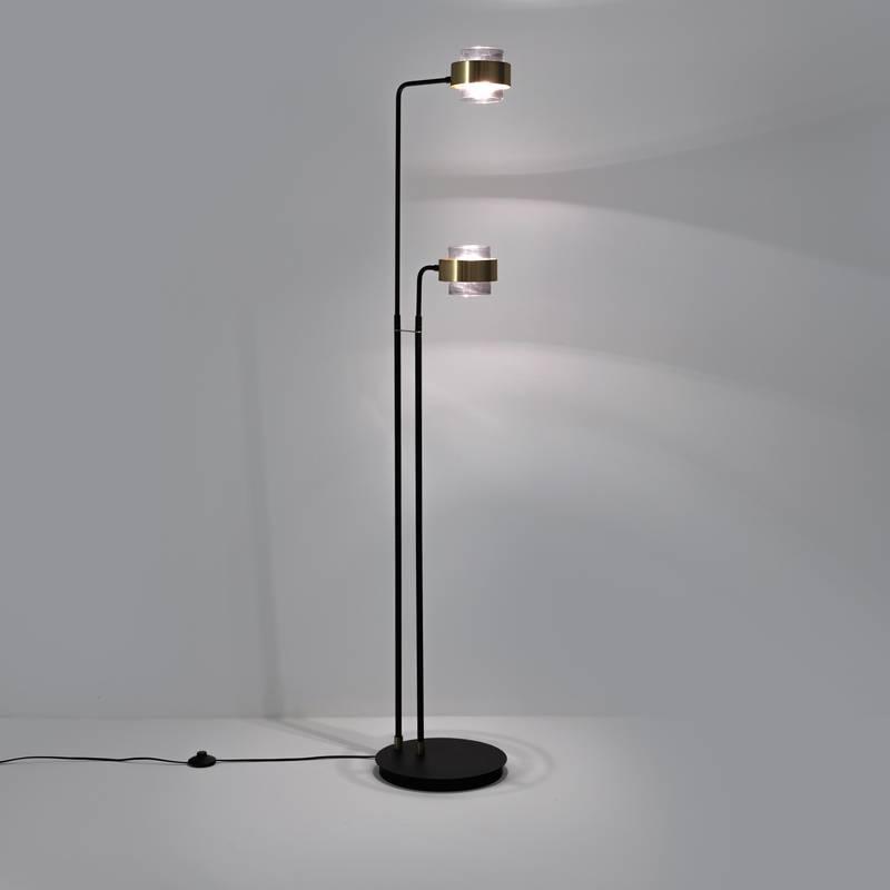 Lámpara de pie con 2 brazos de metal y cristal Botello