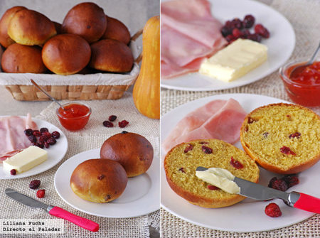 Panecillos de calabaza con arándanos rojos. Receta para el Día Mundial del Pan