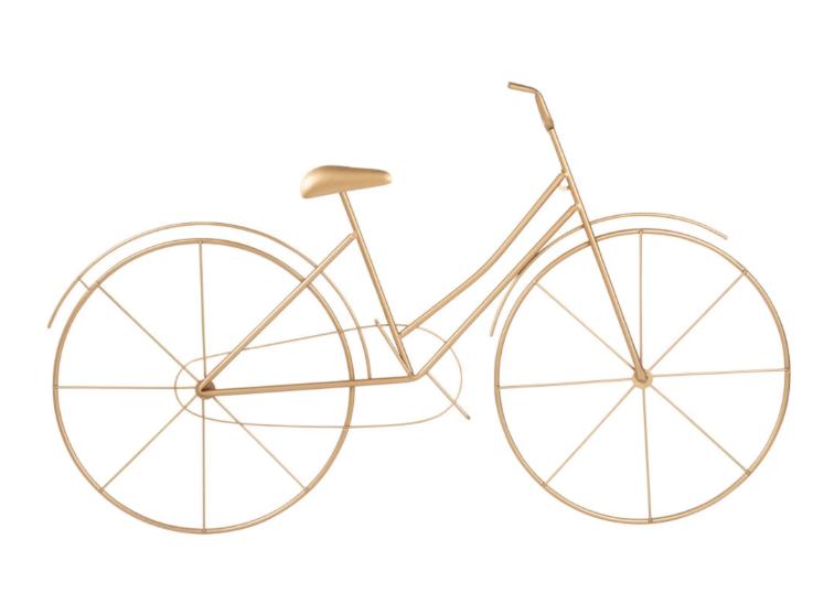 Decoración de pared de bici de metal dorado mate