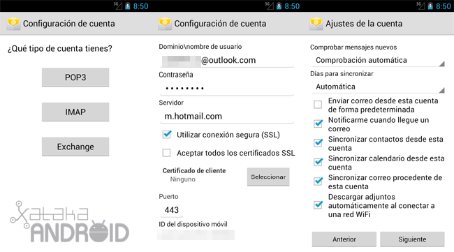 Configurar cuenta Outlook.com (Exchange) en Android