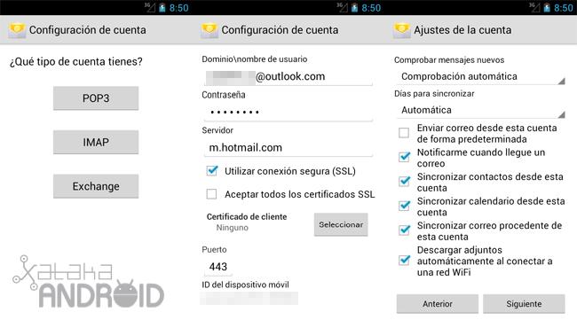 Configurar cuenta Outlook.com (Exchange) en Android