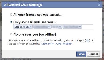 Facebook permitirá precisar para qué amigos quieres estar disponible (o no) en su chat
