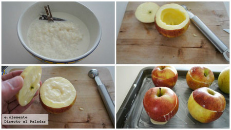 Manzanas con arroz con leche