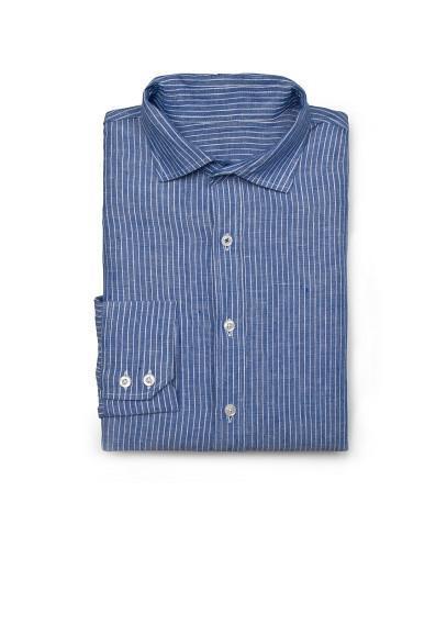 camisa rayas lino azul
