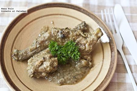 Receta de conejo marinado con salsa de almendras y Brandy