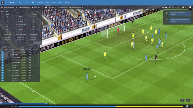 El simulador 3D de Football Manager no es, precisamente, un regalo para los ojos aunque cumple con su cometido.