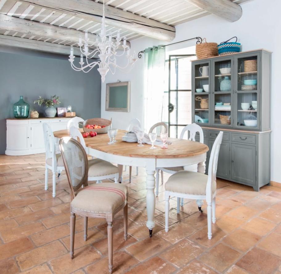 Mesa de comedor extensible Provence de 6/14 personas con ruedas L.125/325
