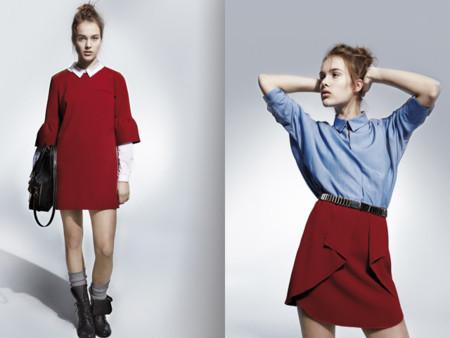Vestido rojo falda roja volantes U Adolfo Dominguez catalogo otono invierno 2013 2014