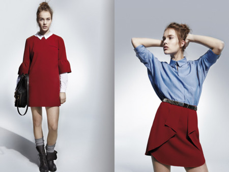 558f39d836 Vestido rojo falda roja volantes U Adolfo Dominguez catalogo otono invierno  2013 2014