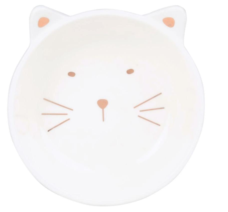 Cuenco gato de porcelana blanca