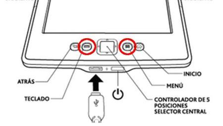 Botones para hacer una captura de la pantalla del Kindle