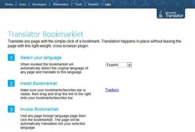 Microsoft lanza Bookmarklet Translator