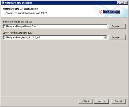 NetBeans - especificando directorios de instalación