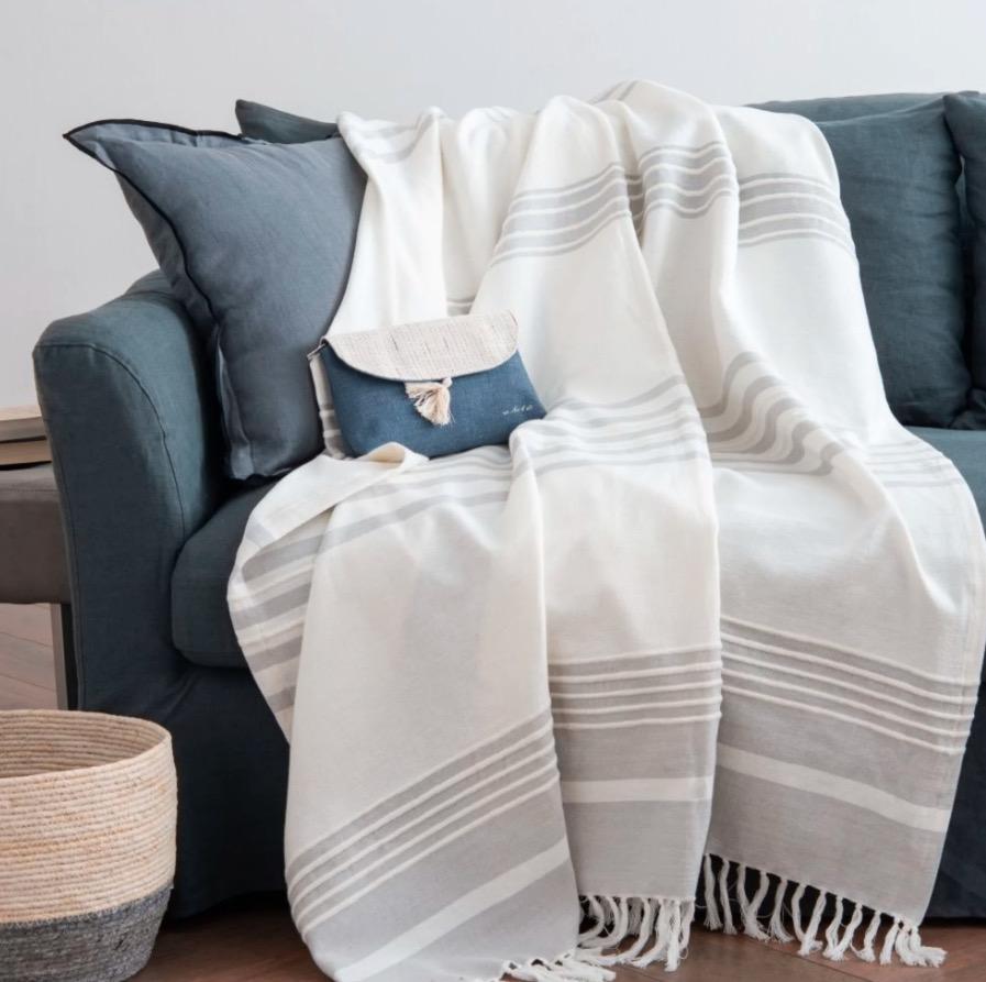 Manta Senorin de algodón a rayas blancas y grises 160x210