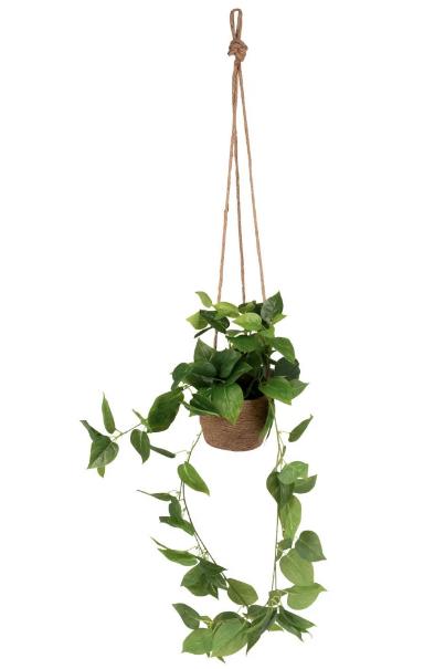 Planta artificial colgante en maceta de cáñamo