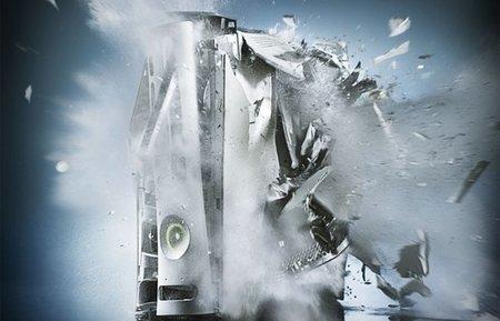 Una Xbox 360 explotando en mil pedazos. El sueño de cualquier troll Sonyer