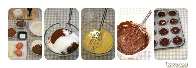 paso a paso muffins de chocolate