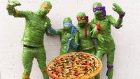 Las Tortugas Ninja discuten sobre una pizza