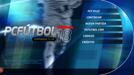 El menú inicial de PC Fútbol 2018