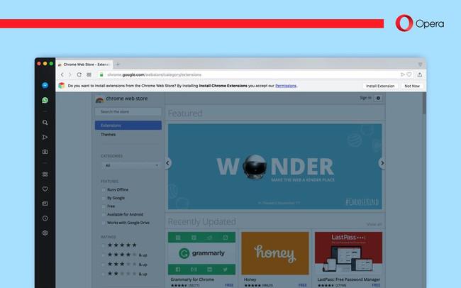 Ya puedes instalar extensiones de Chrome directamente en Opera