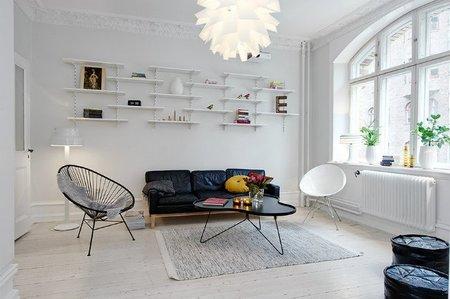 Un salón nórdico con comedor