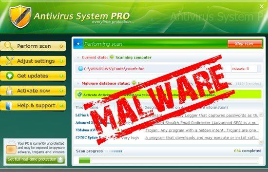 Ejemplo de malware: Antivirus System Pro