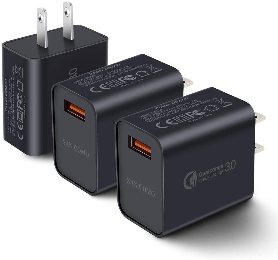 Paquete de tres y cuatro cargadores USB 2.0 con Quick Charge de Qualcomm 18W