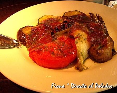 Parrillada de verduras con jamón ibérico