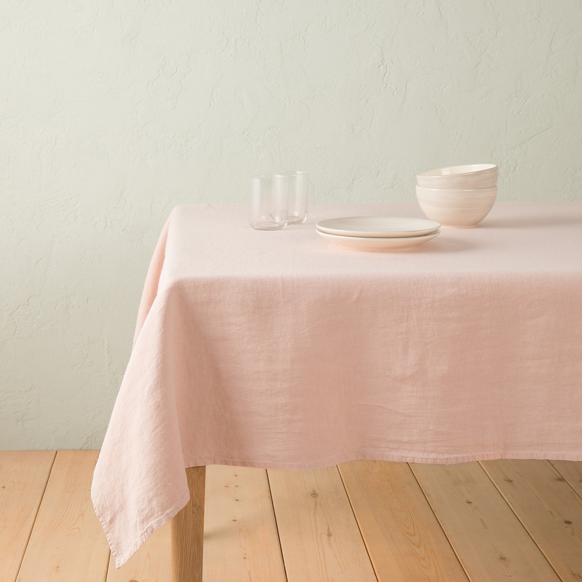 Mantel de lino rosa