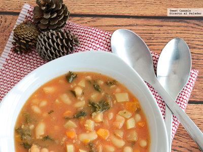 Sopa de verduras con alubias. Receta para el frío