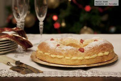 Roscón de Reyes relleno de crema pastelera. Receta de Navidad