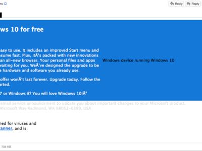 ¡Cuidado! Este correo falso para actualizar a Windows 10 en realidad pone en riesgo tu PC