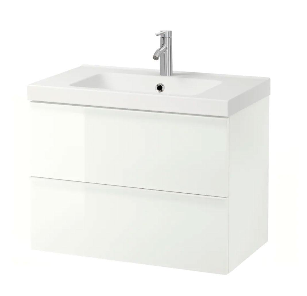 GODMORGON / ODENSVIK Armario lavabo 2 cajones, alto brillo blanco, Dalskär grifo, 83x49x64 cm