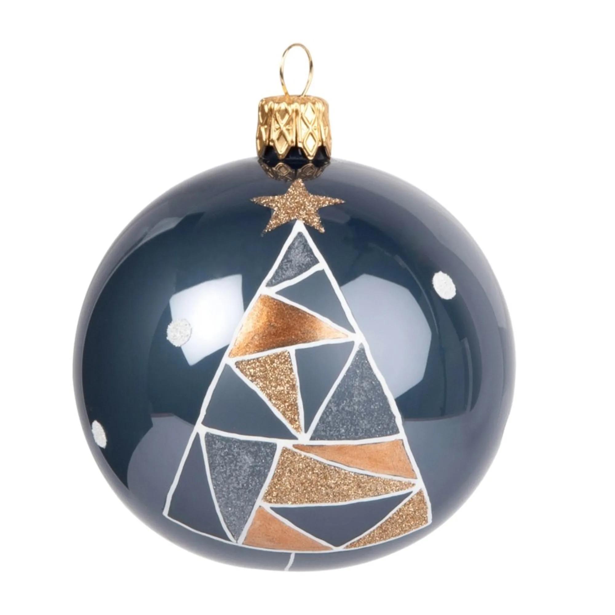 Bola de Navidad de cristal azul con estampado de abeto geométrico - Lote de 6