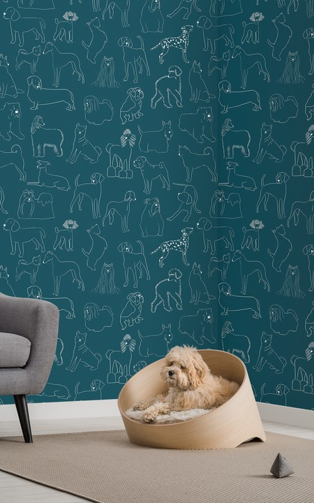 Papel Pintado Verde Con Perros Bulldog Teckel Y Otros Lifestyle Web