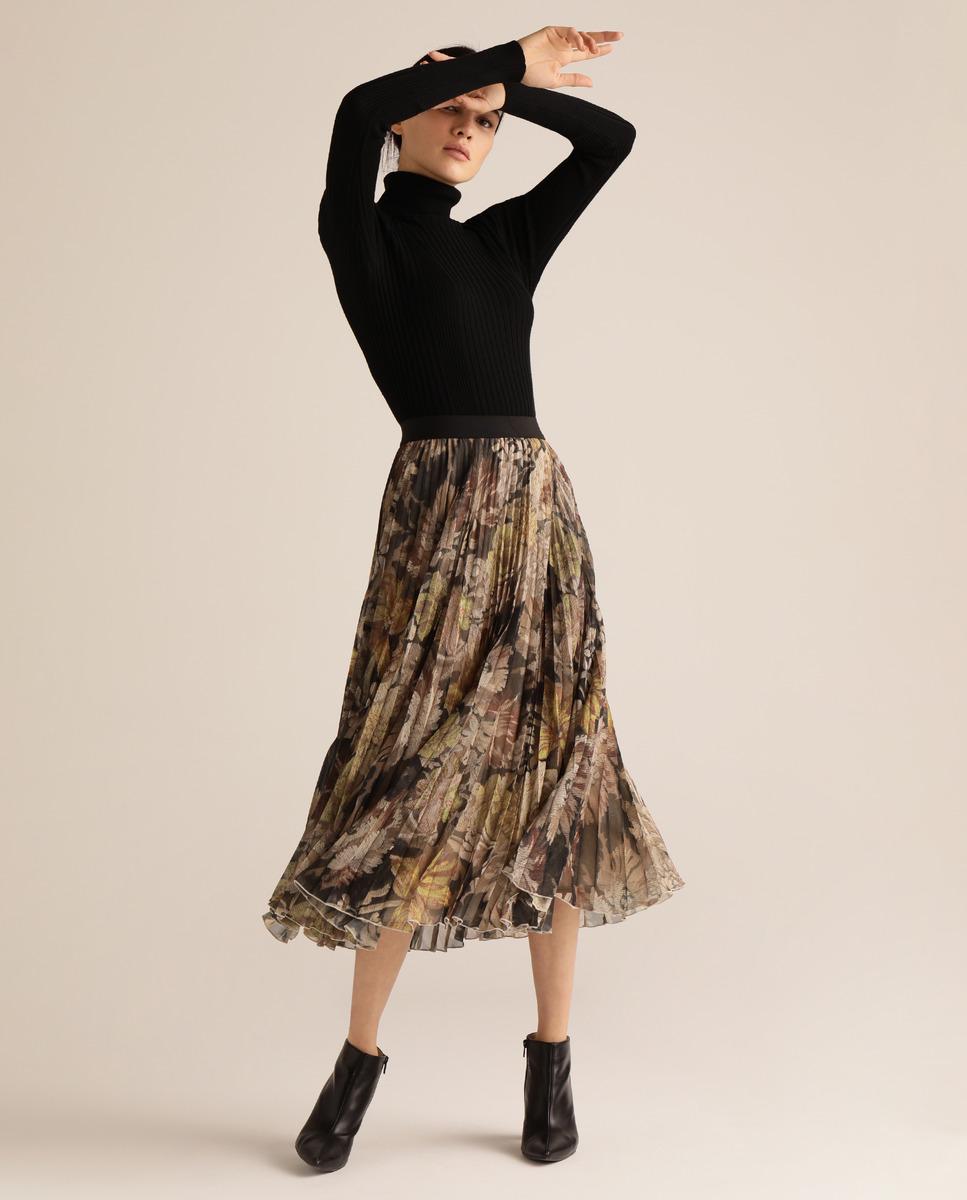 Falda plisada con estampado floral