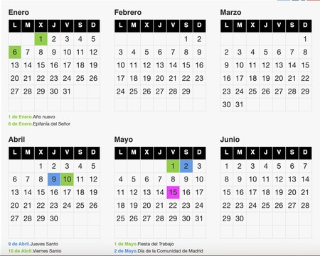 Calendario Laboeral Madrid